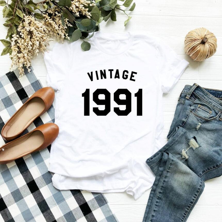 VINTAGE 1991 camiseta 28th cumpleaños camisas 1991 cumpleaños Regalos fiesta divertida mujeres camisetas gráficas con citas 100% Camiseta de algodón