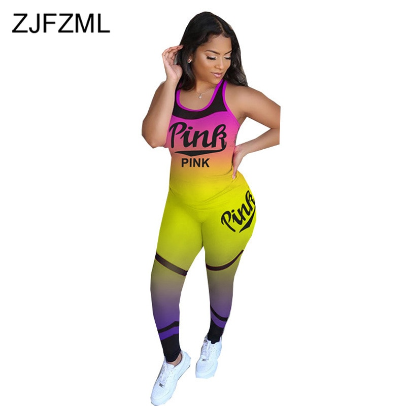Gradient Letter Stripe Print Two Piece Sweatsuit Women Clothes Slim Fit Tank Top+Skinny Short Suit Plus Size Lounge Wear Outfit star and stripe print tank top