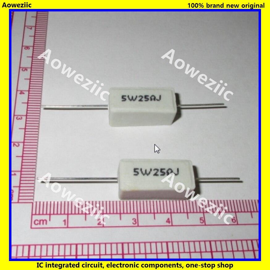 10 pces rx27 resistência de cimento horizontal 5 w 25 ohm 25r 25rj 5w25rj 5w25ohm resistência cerâmica 5% resistência de energia