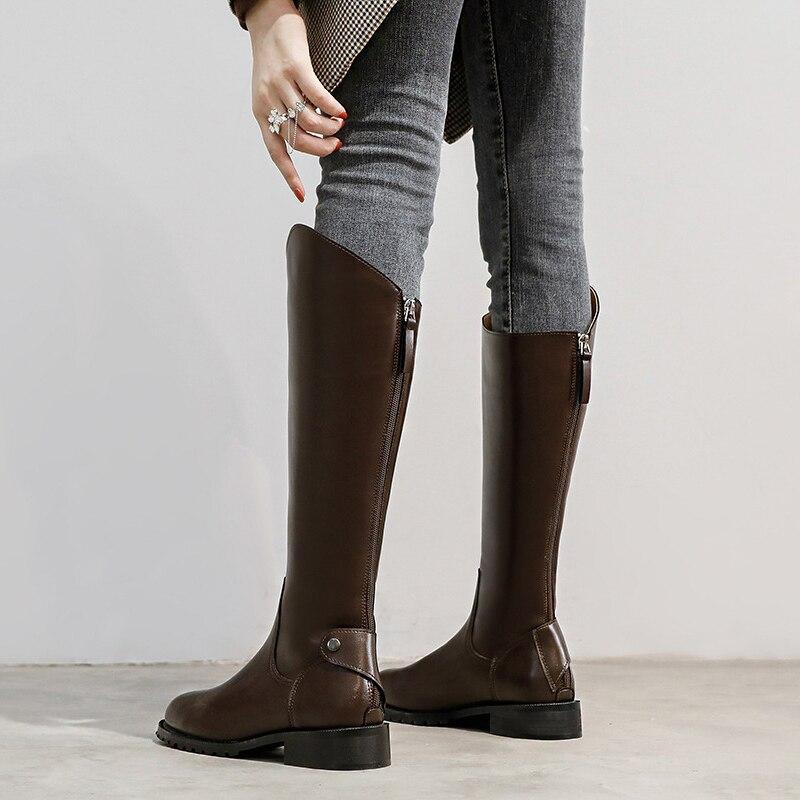 Новинка Осень-зима 2021 женские сапоги до колена женские теплые зимние сапоги на молнии с круглым носком из микрофибры женские модные сапоги