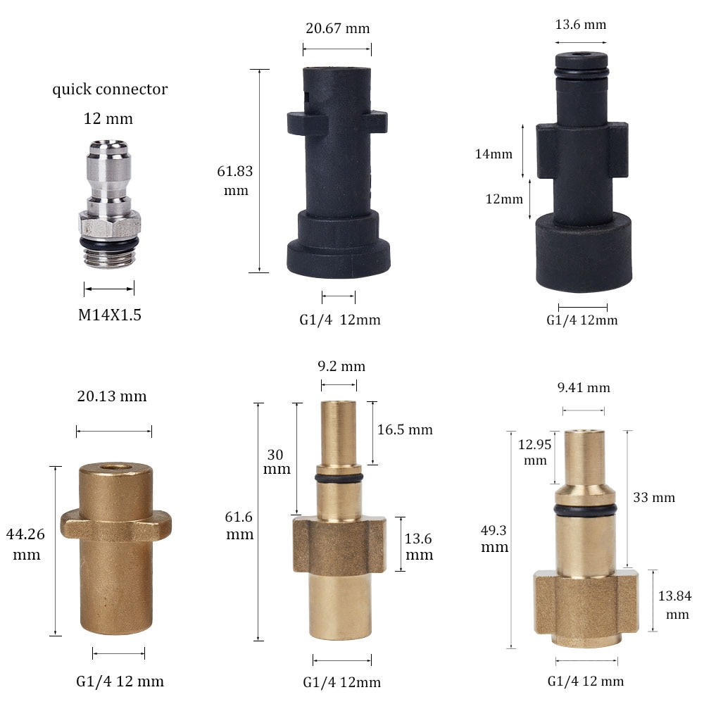Conector de pistola de agua de alta presión para Karcher para Nilfisk de espuma para nieve lanza adaptador de boquilla de espuma para lavadora de coche