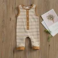 0 18m infant baby boys girls sleeveless jumpsuit summer fashion stripe round neck pull on single breasted romper