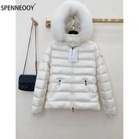 spenneooy designer brand winter white short down jackets coat women luxury removable fur collar white duck down overcoat outwear