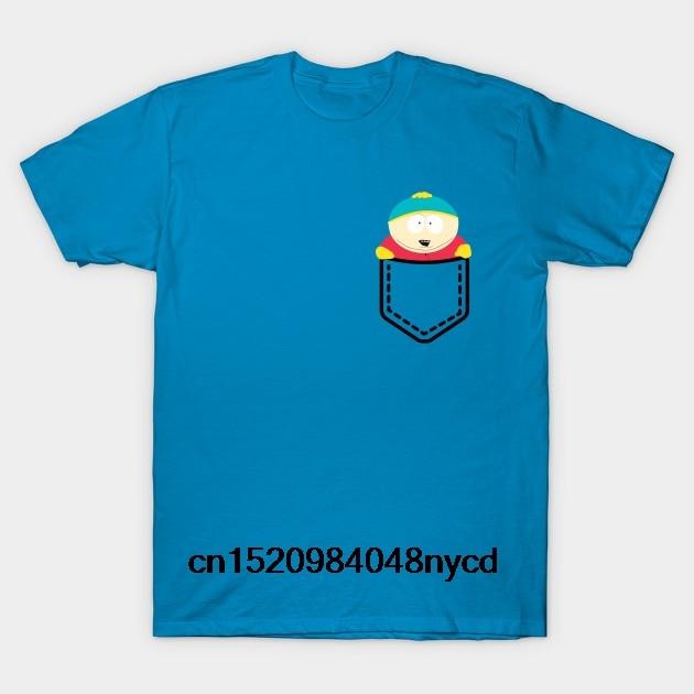 Camiseta estampada de algodón para hombres Camiseta de manga corta con cuello redondo nuevo estilo Cartman en mi bolsillo