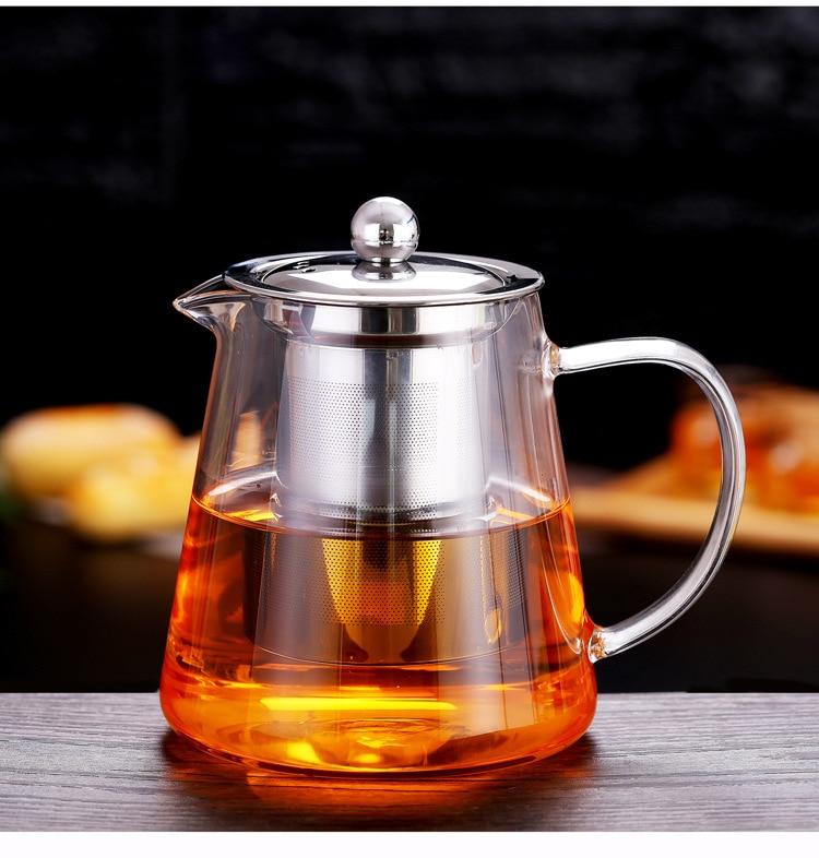 Чайник из боросиликатного стекла с фильтром нержавеющей стали 304 чайник для