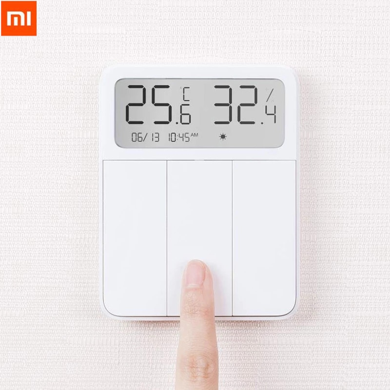 Interruptor de Parede Remoto sem Fio Display para Casa Original Xiaomi Mijia Tela Inteligente Controle 3 Teclas Temperatura Umidade