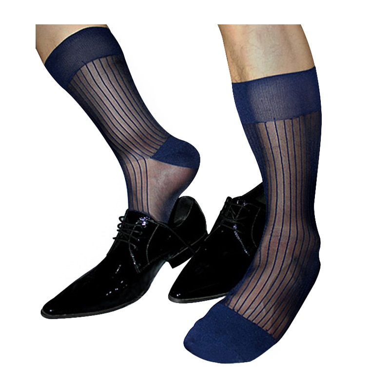 Мужские нейлоновые шелковые носки, полосатые прозрачные вещи, сексуальное формальное платье, костюм, мужские длинные носки, мягкие шелковы...