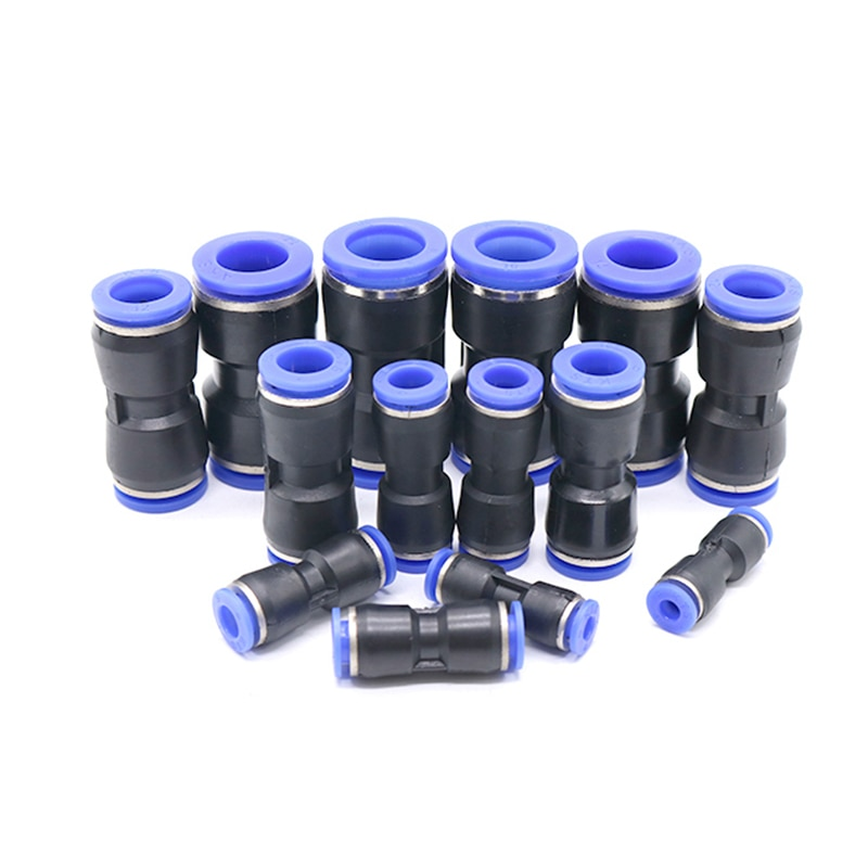 free shipping throttle valve sa 4 12mm air flow speed control valve tube water hose pneumatic push in fittings connector adapter Pneumatic Fittings One Touch Straight Push-In PU 4mm 6mm 8mm 10mm 12mm Air/Water Hose Tube Plastic Quick Connector Tube Fitting