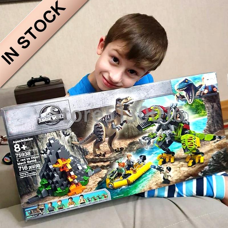 82153 In stock Dinosaur Transport-Blocks Bricks Jurassic World Movie Series T. rex vs Dino-Mech Battle 75938 10927 10928