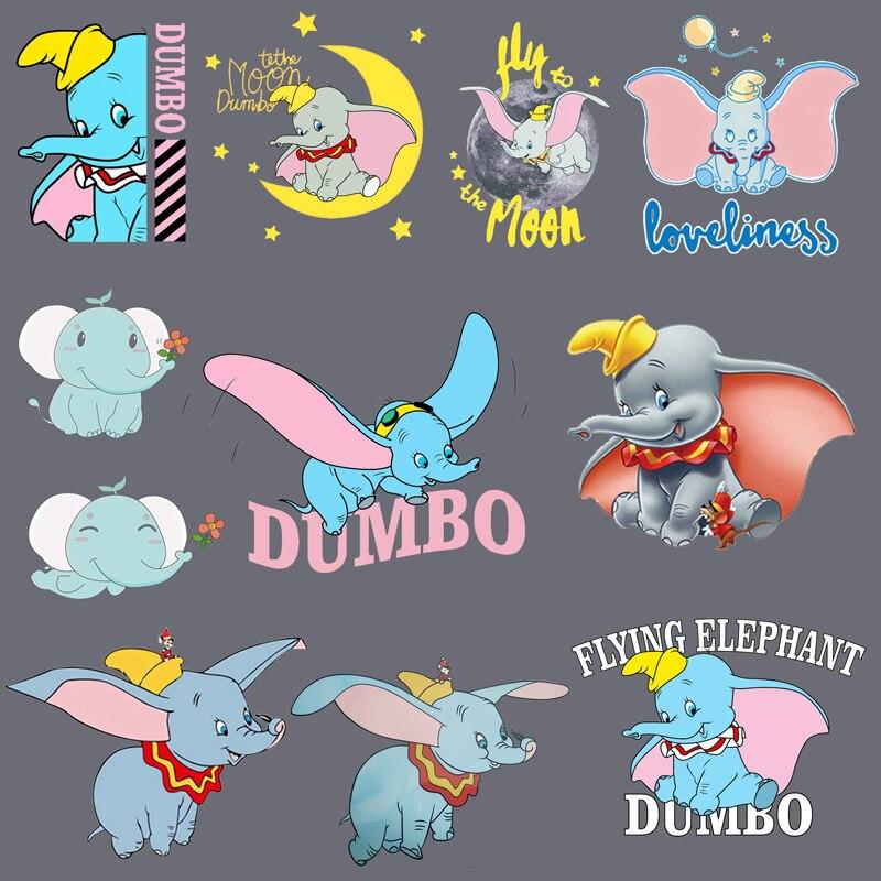 1PCS Dumbo Film Elefanten Patch Eisen Wärme Transfer Druck Patches Aufkleber für DIY Kleidung Waschbar A-niveau Thermische patches