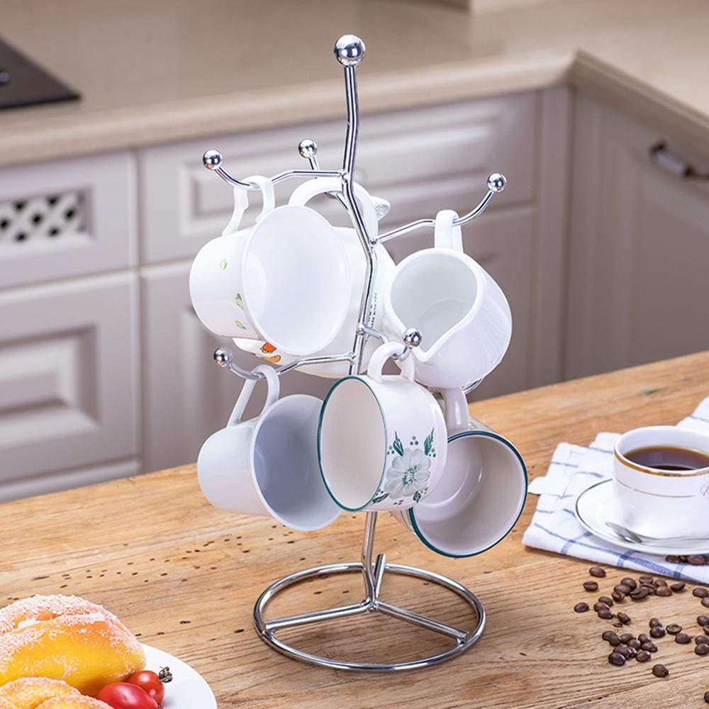 Nordic Style Brief Coffee Cup Dish Drain Drying Rack Tableware Storage Stand Holder 6 Cups for Kitchen Organizer Supply 2 Types