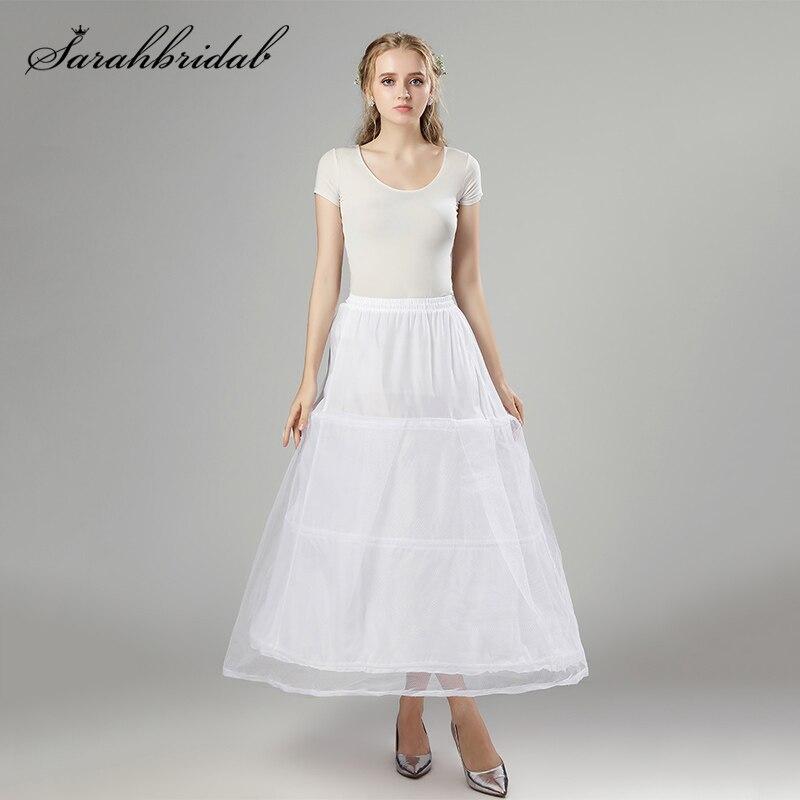 In Stock Petticoat Underskirt Long Tulle 2 Layer 3 Hoop White Crinoline A Line Vintage Women Skirts Cosplay Birthday Slips 12011