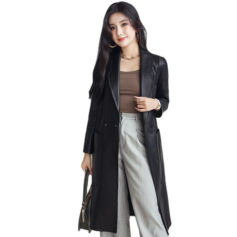 women long casual real sheepskin suit jacket genuine leather windbreaker jacket women's mid-length leather suit collar jacket