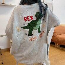 Sweat pour femmes dinosaure vert Harajuku, chemise ample Kawaii choses étranges, printemps et automne, 2020