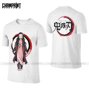 Kimetsu No Yaiba Men T Shirts Front Back Demon Slayer Kamado Anime Manga Two Sides Tees Short Sleeve T-Shirt Plus Size Tops