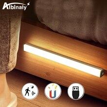 Wiederaufladbare LED Unter Kabinett licht led Lampe Motion Sensor USB Port licht küche Treppen Schrank Bett Seite Licht