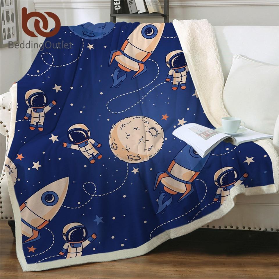 BeddingOutlet-بطانية سرير صاروخ للأطفال ، صوف شيربا أزرق ، ملاءة خارجية قطيفة لرواد الفضاء ، كوبرتور النجوم