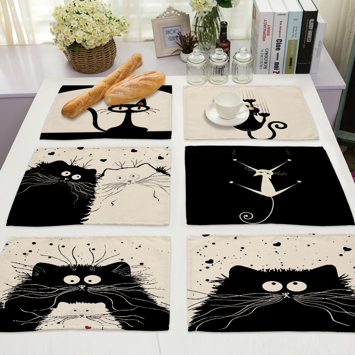 Mantel Individual para mesa de comedor, salvamanteles de aislamiento térmico, mantel negro para gatos, manteles individuales de lino, posavasos, decoración