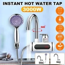 3000W 220V Instant Electric Faucet Tap Hot Water Heater Stainless Steel Under Inflow LED Display Wat