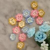 9pcs handmade diy 3d flowers cotton crochet patch iron on patches sewing applique badges stripe sticker lace clothes decor