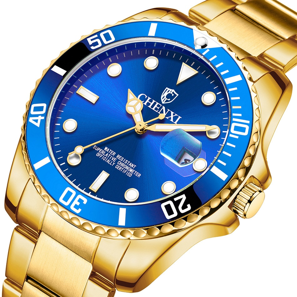 AliExpress - Luxury Top Brand Gold Men Watch Classic Golden Men's Quartz Wristwatch Stainless Steel Male Business Dress Clock Waterproof Gift