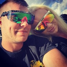 Kdeam Large Frame Sunglasses for European and American Couples, UV Proof Conjoined Goggles, Colorful