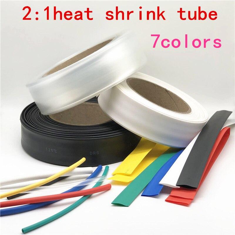 1 metro 2:1 negro 7 colores 45mm 50mm 60mm 70mm 80mm 90mm 100mm 120mm 150mm 180mm termoretráctil tubo de alambre