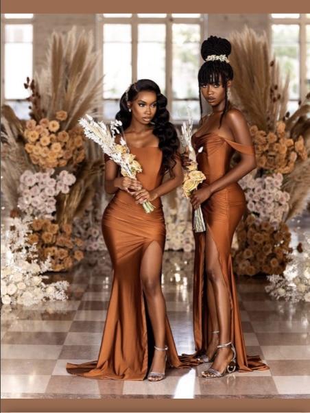 فساتين وصيفة الشرف الأفريقية 2021 حورية البحر خارج على الكتف سبليت الساتان فستان وصيفة الشرف حجم كبير للنساء الزفاف