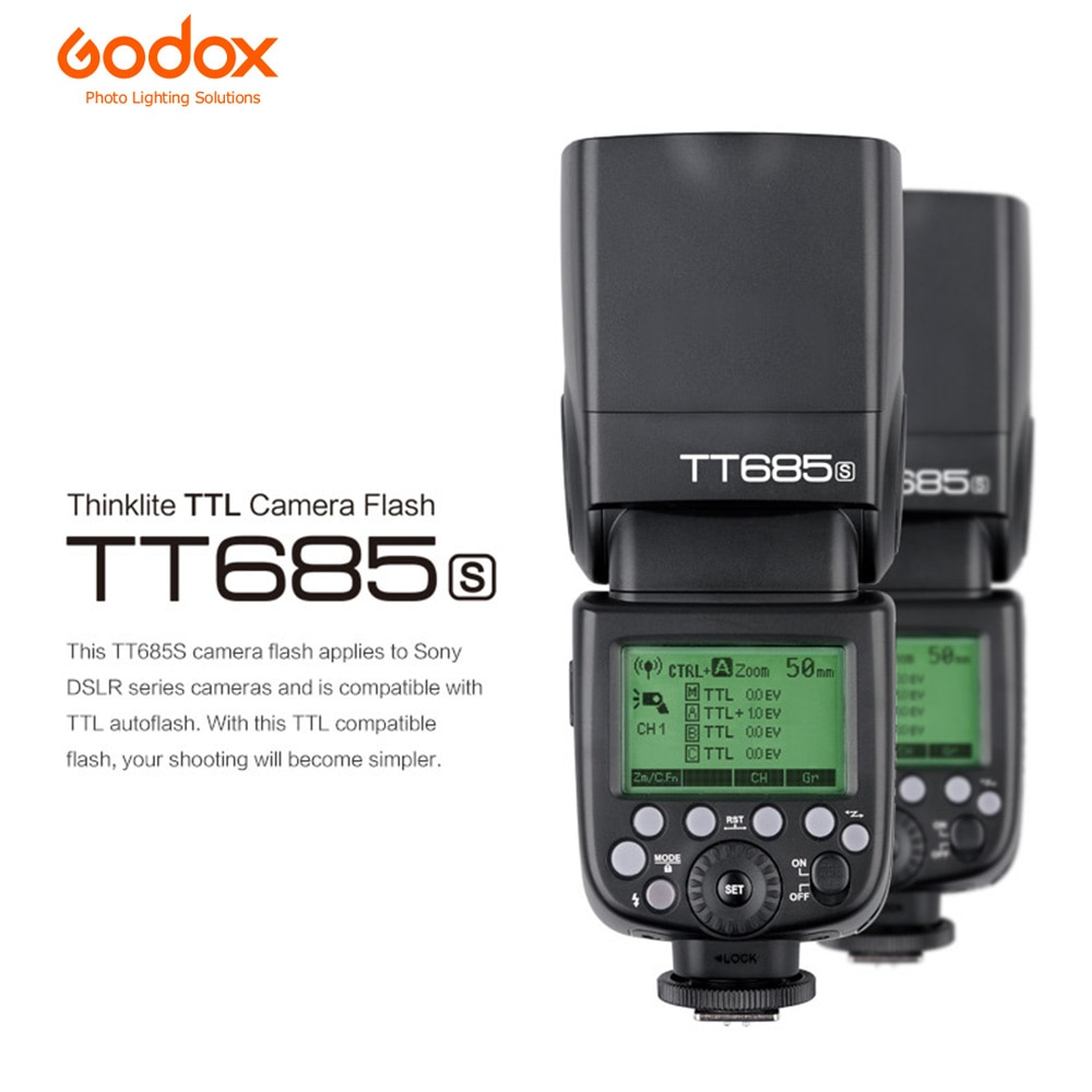 Godox TT685S 2,4G inalámbrico i-ttl sincronización de alta velocidad 1/8000s GN60 Flash Speedlite para Sony A77II A7RII A7R A58 A99