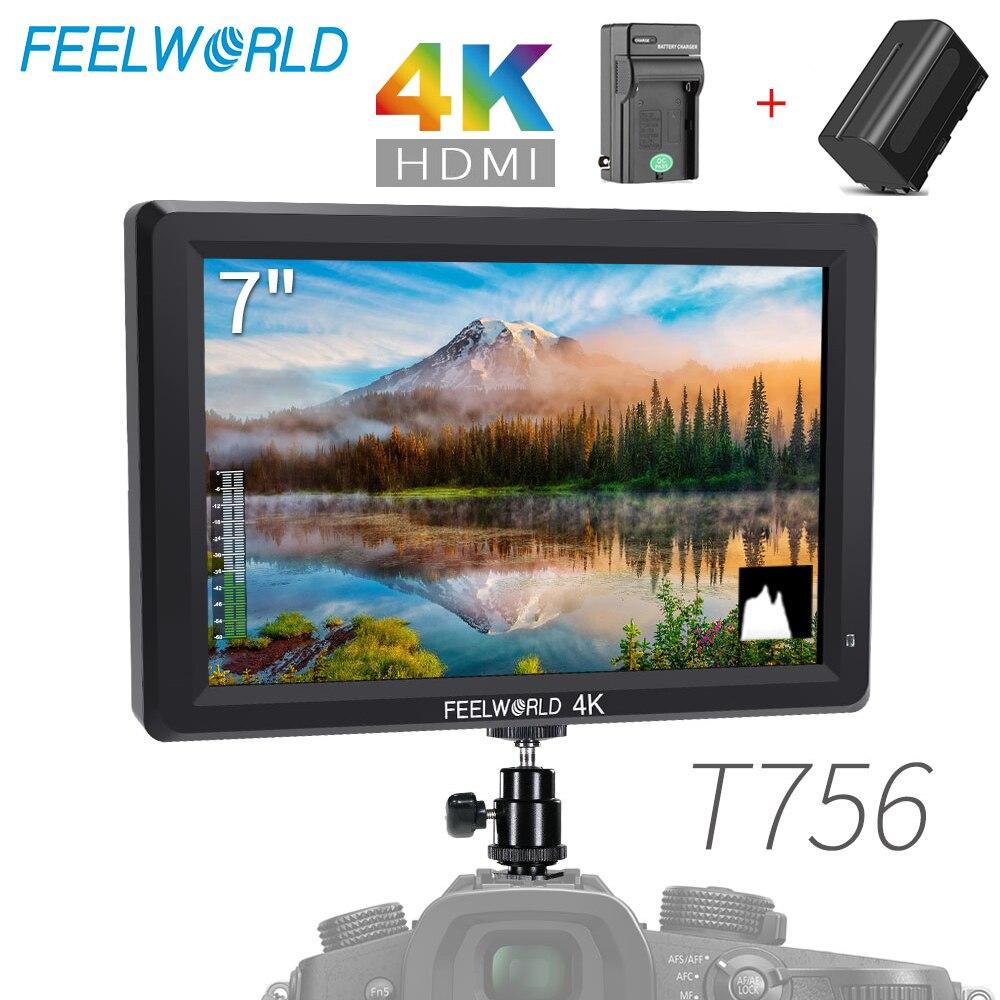 Feel world T756 7 ''1920x1200 IPS على كاميرا جهاز المراقبة الميدانية دعم 4K HDMI المدخلات الناتج + NP750 شاحن بطارية للكاميرا ZHIYUN