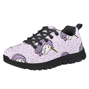 HYCOOL Cute Dot Heart Shape Unicorn Print Girls Boys Flat Shoes Children Lightweight Air Mesh Sneakers Children Leisure Footwear