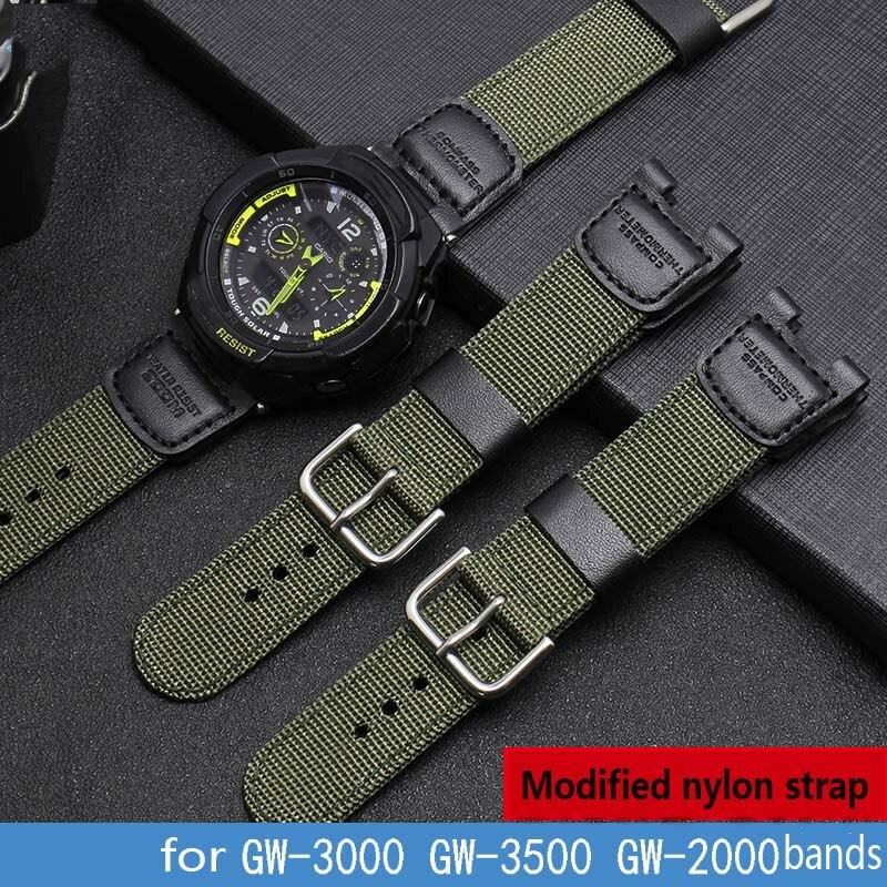 high quality Nylon watch strap for Casio G-SHOCK GW-3500B GW-3000B 24*11mm Notch end Modification watchband  bracelet