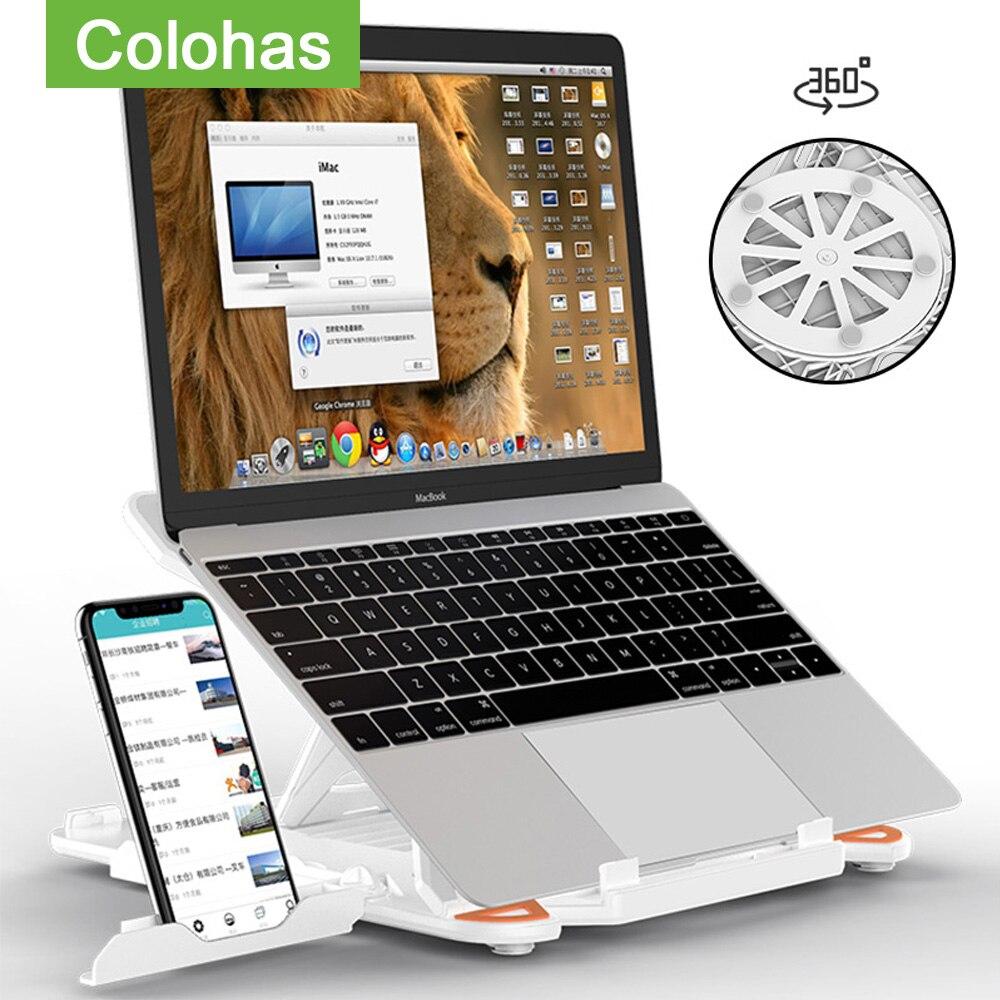 Soporte giratorio 360 para portátil, soporte plegable para Macbook Lenovo, soporte de refrigeración para ordenador portátil con soporte para teléfono