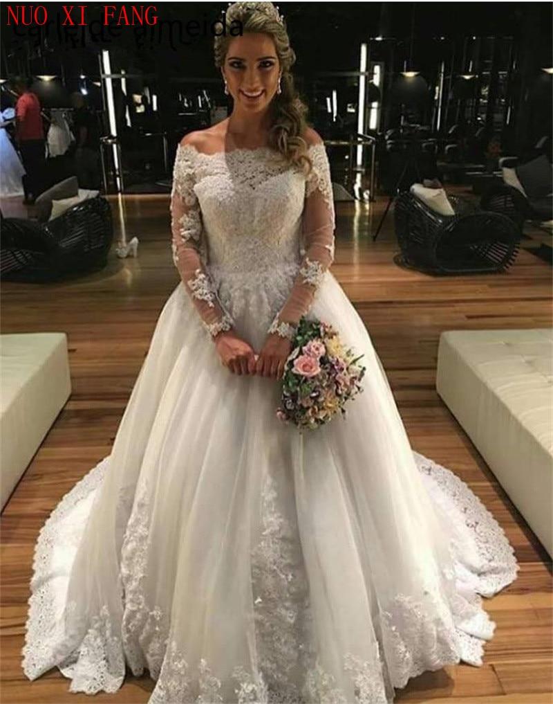 NUOXIFANG Vintage Robe de mariee Boat Neck Long Sleeves Wedding Dress Bridal Gown Lace Appliques Beaded 2020 vestidos de novia недорого