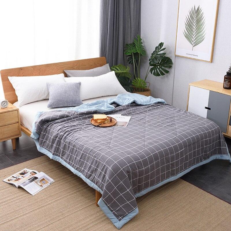 جديد وصول لحاف صيفي تكييف الهواء رقيقة منقوشة شريط المعزي تنفس بطانية ناعمة لحاف السرير (لا المخدة)