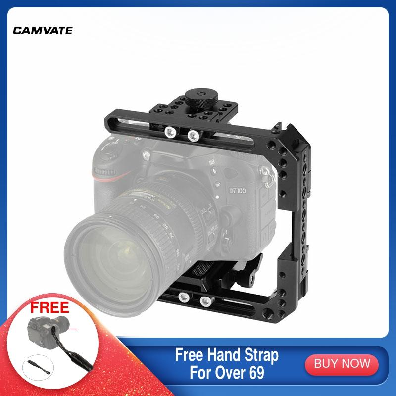 CAMVATE Camera Extendable C-frame Cage Rig With Manfrotto QR Baseplate & Cheese Bar For DSLR Cameras (Height Within 68mm ~ 130mm