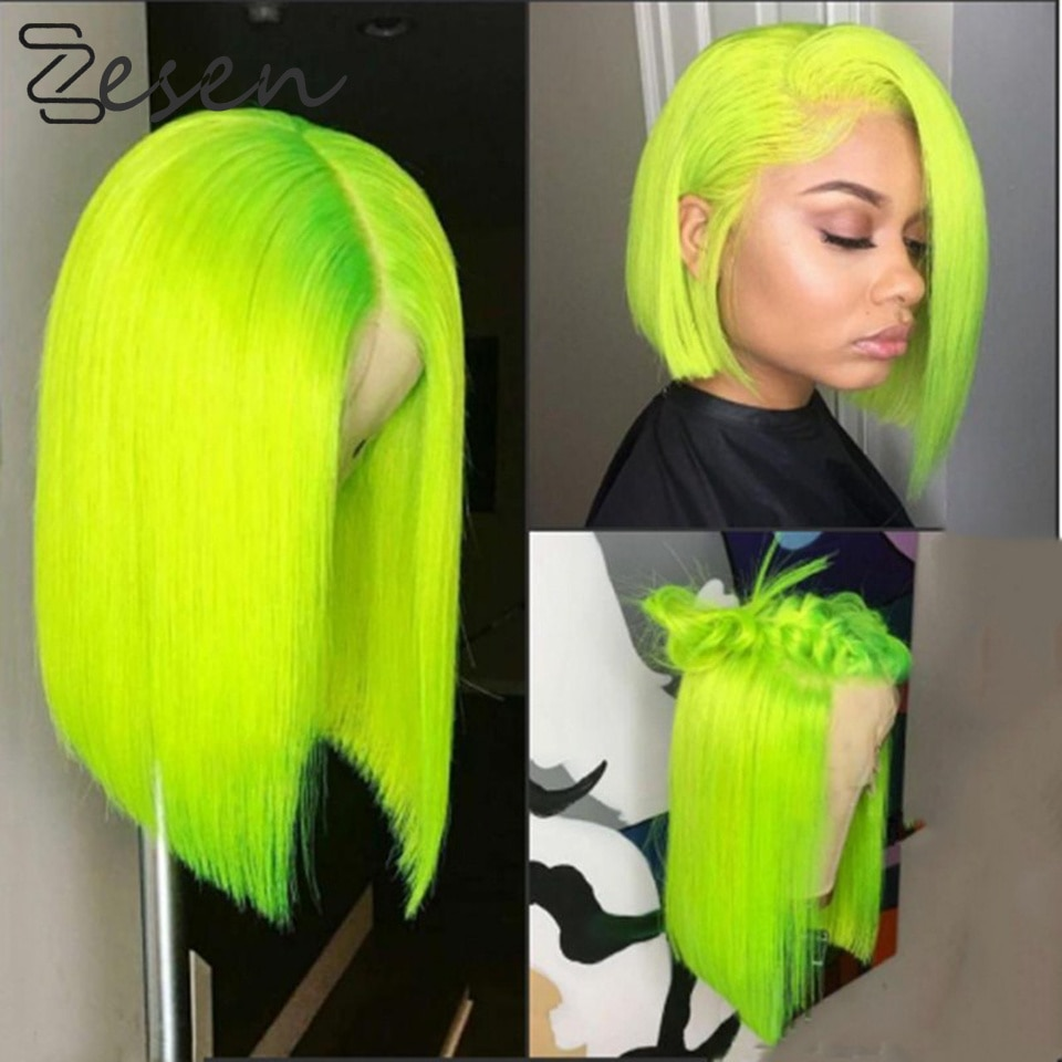 Zesen 13*4 Synthetic Lace Front Wig Straight Hair Bob Wigs Ombre Color and Green Color Lace Frontal Cosplay Short Wigs For Women