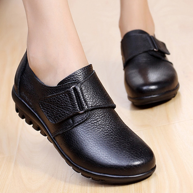 weideng new autumn solid color genuine leather platform breathable leisure white and black comfortable 2017 loafers women shoes Spring Comfortable Flats For Women Genuine Leather Loafers Black Moccasins Mom Red Flat Trekking Shoes Women's Autumn Shoes