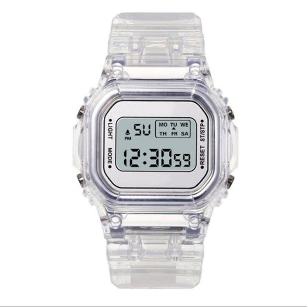 Fashion Men Women Watches Gold Casual Transparent Digital Sport Watch Lover's Gift Clock Children Ki