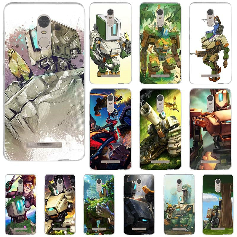 Funda de teléfono móvil de silicona TPU suave para Xiaomi Redmi Note 2 3 3S 4 4A 4X 5A 5 Pro más funda bolsa Bastion Overwatchs OW carácter