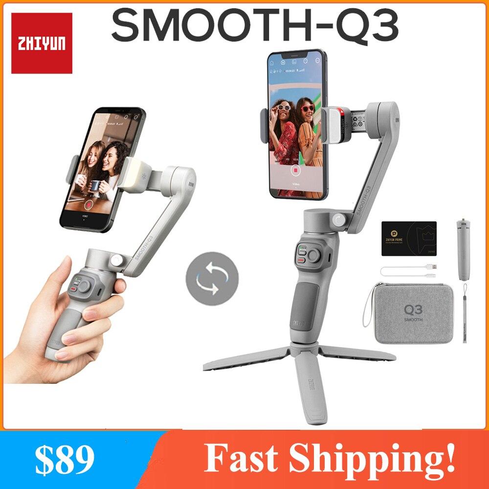 Zhiyun السلس Q Q3 الهواتف الذكية Gimbal 3-محور يده مثبت الهاتف آيفون 12 11 برو X 8 Plus 7 شاومي سامسونج