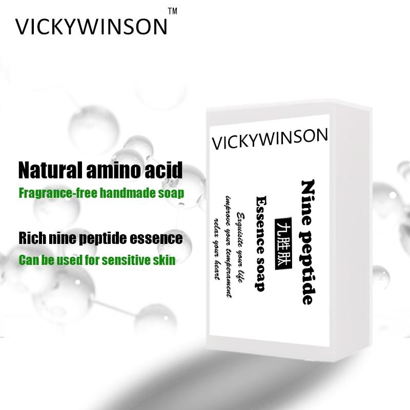 Пептидная эссенция VICKYWINSON, мыло с аминокислотой, 50 г, 100% органическое натуральное масло ручной работы, мыло для очищения кожи лица недорого