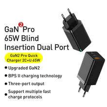 Baseus GaN2 Pro USB зарядное устройство 65 Вт Quick Charge 4,0 Быстрая зарядка PD для iPhone 12 Xiaomi Macbook Pro Type-C, обновленный настенное зарядное устройство