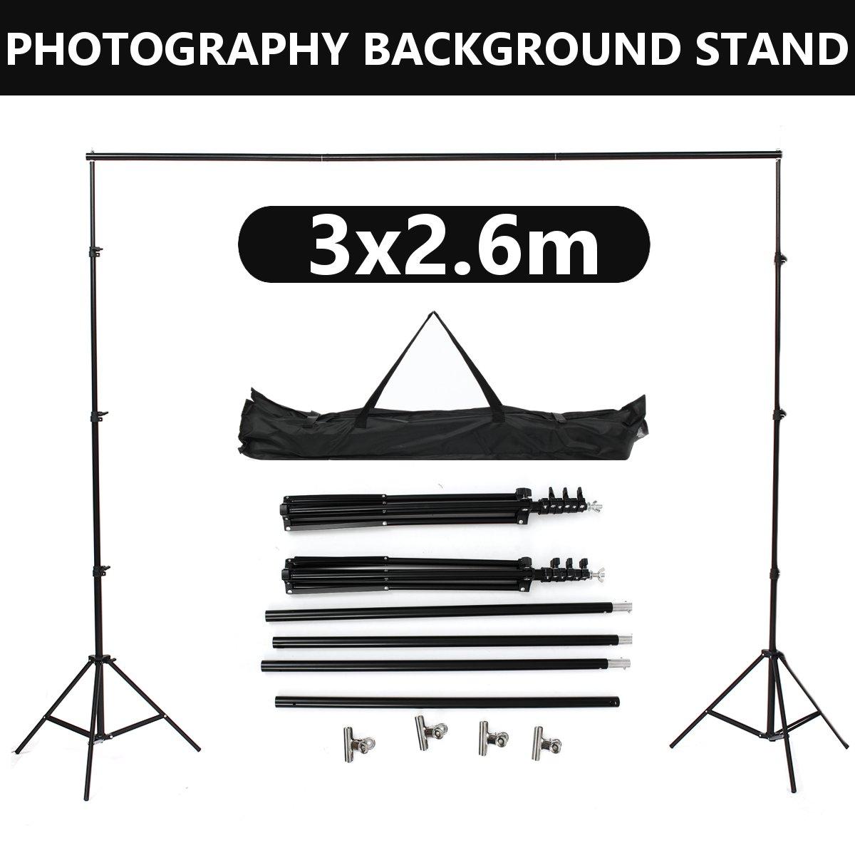 3x2,6 m sistema de soporte de fondo de aleación de aluminio Kit de soporte portátil estudio de fotografía telón de fondo conjunto de bolsa de transporte para lienzo de papel