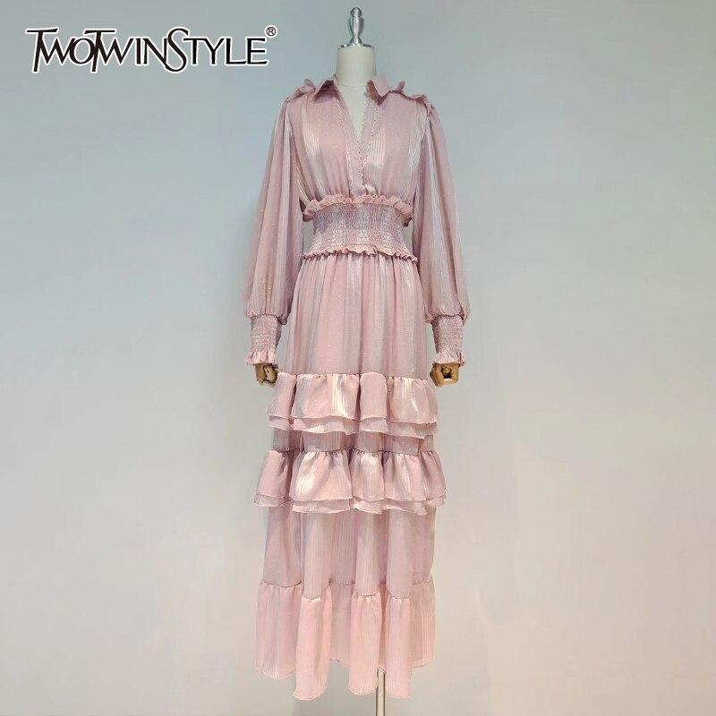TWOTWINSTYLE فستان مكشكش وردي عادي للنساء الخامس الرقبة فانوس كم طويل عالية الخصر Ruched سليم ماكسي فساتين الإناث 2021 نمط