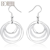 doteffil 925 sterling silver three circle drop earring for women lady wedding engagement party fashion jewelry