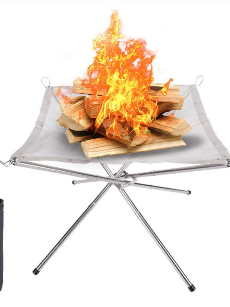 Outdoor Portable Fire Pit  Holder Stainless Steel Mesh Shelf Folding Fire Frame Fast Heating Charcoal Burning Stove Camping Tool