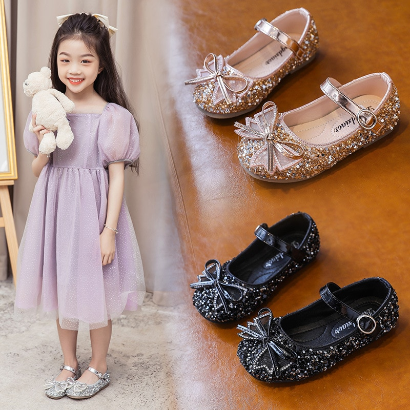 Girls Princess Shoes 2021 New Soft Bottom Baby Summer Rhinestone Shoes for Kids Leather Shoes Bow Sweet Party Fashion Hot 21-35 afdswg pu kids shoes girls fashion soft bottom princess shoes new bow leather shoes childrens shoes little girl shoes