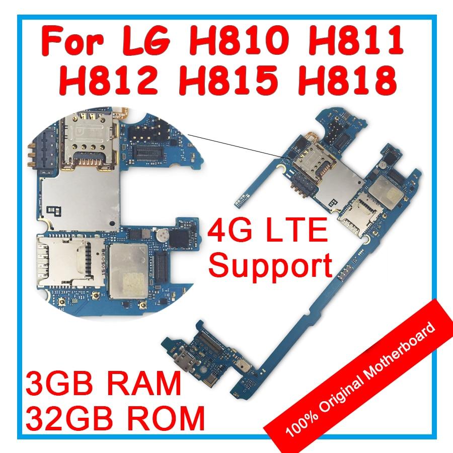 Para lg g4 h810 h811 h812 h815 h818 placa-mãe original 32 gb rom 3 gb ram android os 100% desbloquear placa lógica mainboard com chips