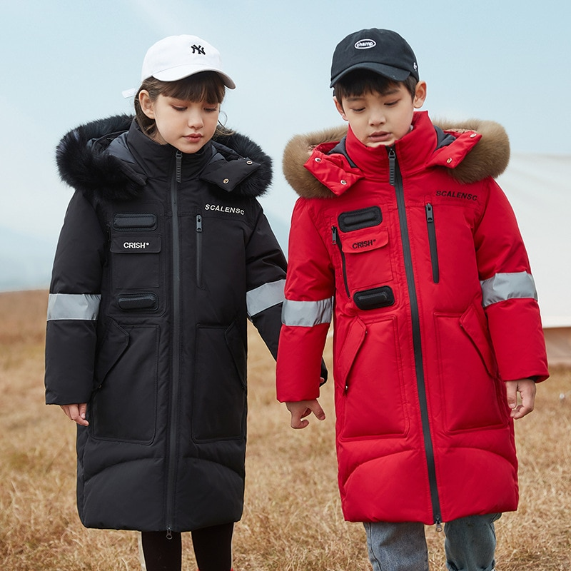 2021 Girls Winter Coat Boy Hooded Real Raccoon Down Jacket For Girl 5-14 Years Thicken Russia Kids Teenage Outerwear Parkas Tops enlarge